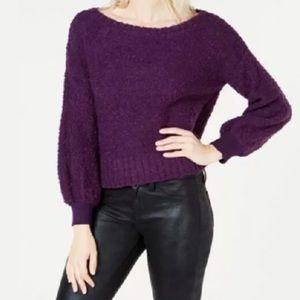 BAR III Bishop-Sleeve Textured Fuzzy Sweater NWOT
